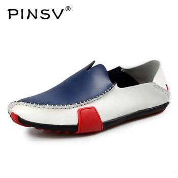 1ec4700ac PINSV Мокасины Мужская обувь Осенняя повседневная обувь для вождения  мужские итальянские Мокасины без шнуровки кожаная мужская
