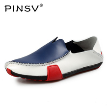 PINSV Moccasins Mens Shoes Autumn Driving Casual Shoes Men Italian Loafers Slip On Leather Shoes Mens Loafers Size 38-47