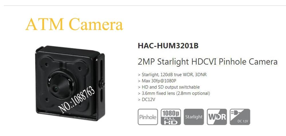 Free Shipping DAHUA CCTV Mini Camera ATM Camera 2MP Starlight HDCVI Camera without Logo HAC-HUM3201B