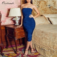 Ocstrade Fashion Party Dress 2017 Donna Midnight Blue Senza Spalline Dalla Fasciatura di Bodycon Midi Dress Rayon di Alta Qualità
