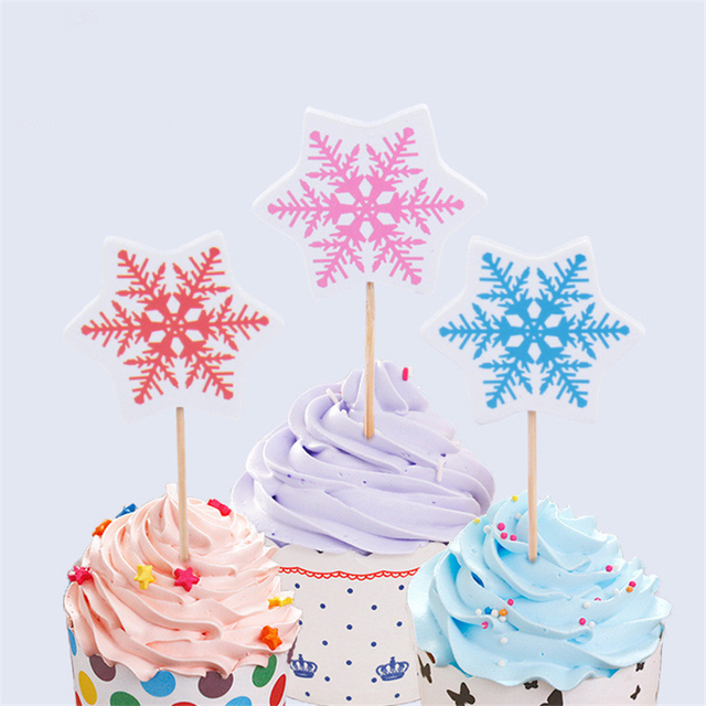 24pcs Snow Cake Topper Cupcake Toppers Picks Kids Birthday Event Party Decor Flag Toothpick Snowflake Shape