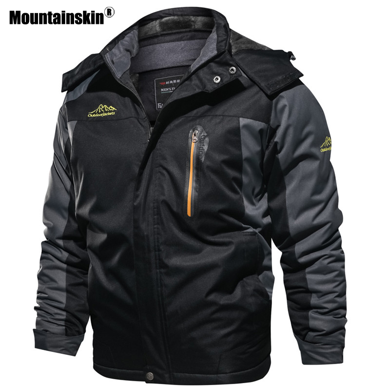 Mountainskin New Winter Men's Parkas Thick Fleece Warm Coat Men Jackets Hooded Coats Mens Brand Clothing Plus Size 7XL 8XL SA603-in Jackets from Men's Clothing