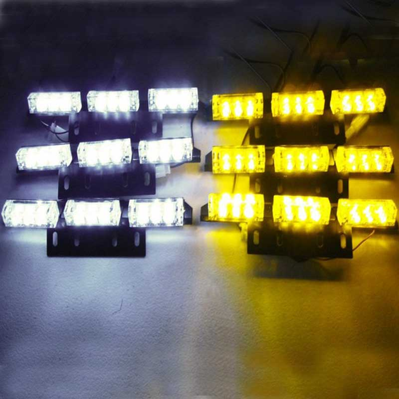 Free shipping 6*9 54 LED Warning Blinking Strobe Flash Light 3 Mode 12V. Red, Amber. White. Blue. Green LED flash