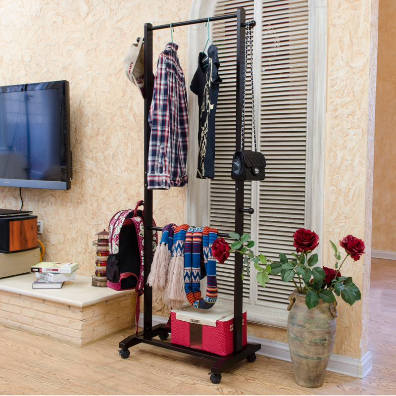 korean european double rod hangers coat rack floor bedroom clothes rack drying rack ikea style furniture