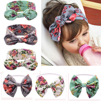 1 PC Floral Headband Children Girls Bow Knot Headbands Elastic Hairband Soft Turban Headwrap Rabbit Ears Hair Accessories
