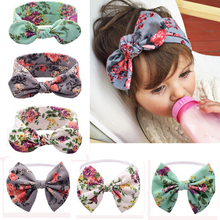 1 PC Floral Headband Children Girls Bow Knot Headbands Elastic Hairband Soft Turban Headwrap Rabbit Ears Hair Accessories(China)