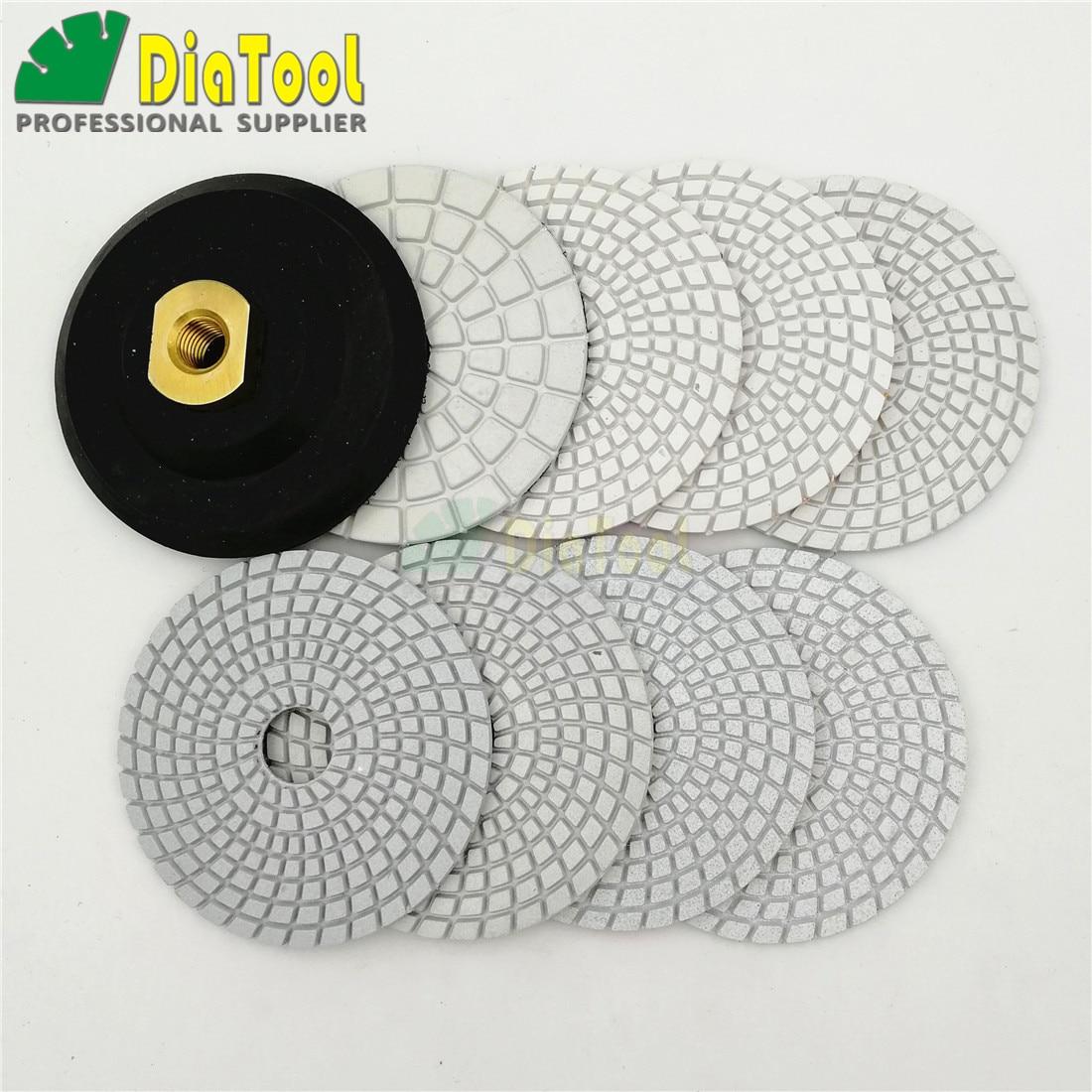 DIATOOL Diamant Tampons de Polissage Humides avec Liant de R/ésine Blanc pour Marbre Granit Gruau Mixte Diam/ètre 4  Pack de 8