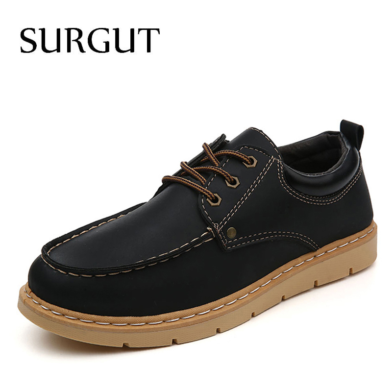 SURGUT Brand Newest Fashion Shoes Men Casual Shoes Spring Autumn Breathable Lace Up Male Oxfords Shoes Moccasins Working Shoes maden brand 2017 spring autumn designer fashion mens casual shoes lace up comfortable suede driving shoes breathable male shoes