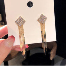 все цены на Dominated 2019 New Personality Geometric Metal Square Earrings Tassel crystal temperament long Women Drop earrings онлайн