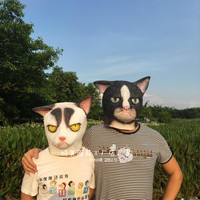 Black Mask White Garfield Fox Horse Head Cat Head Ball Bar Funny Mask.