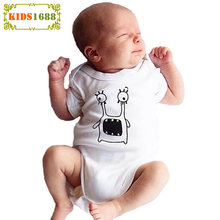 High Quality Boy Baby Romper 2017 Kawaii Monster Pattern Newborn Jumpsuit Summer Short sleeve One Piece Girl Baby Clothes Romper(China)