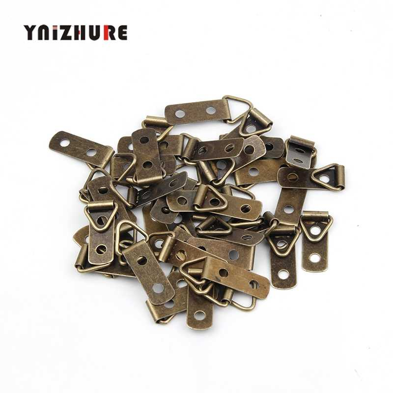 Triangle D-Ring 2 Holes Hanging Picture oil Painting Mirror Frame Hooks Hangers With Screws,Bronze Tone,30*11mm,100Pcs