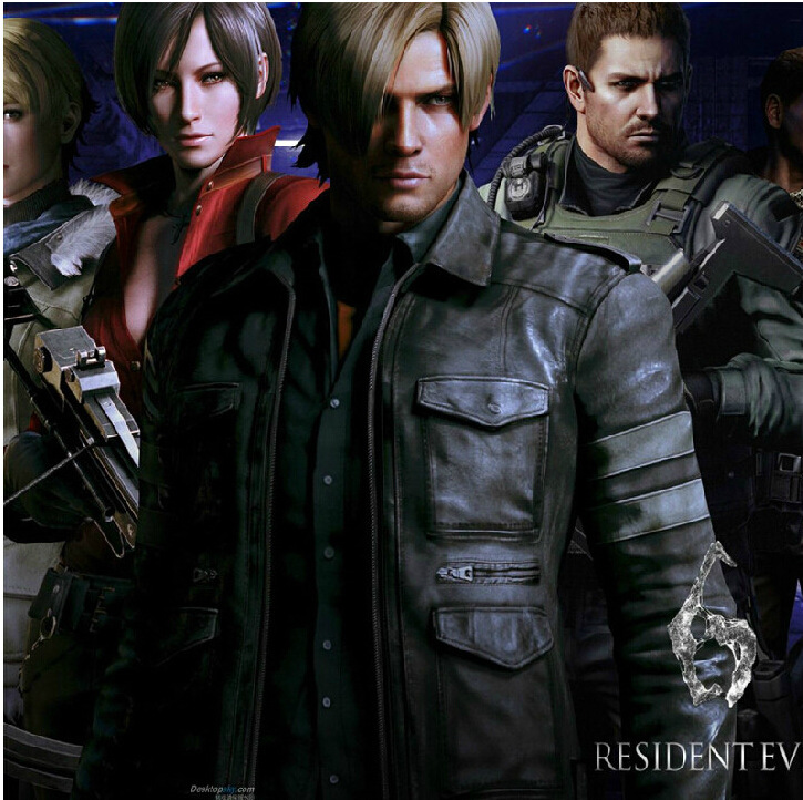 Biohazard Resident Evil 4 Leon S Kennedy Cosplay Costume Motorcycle Jacket Male Cowhide  ...