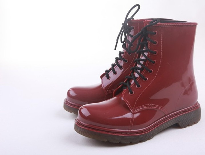 Aliexpress.com : Buy Short Dark Red Black Lace Up Pvc Rain Boots ...