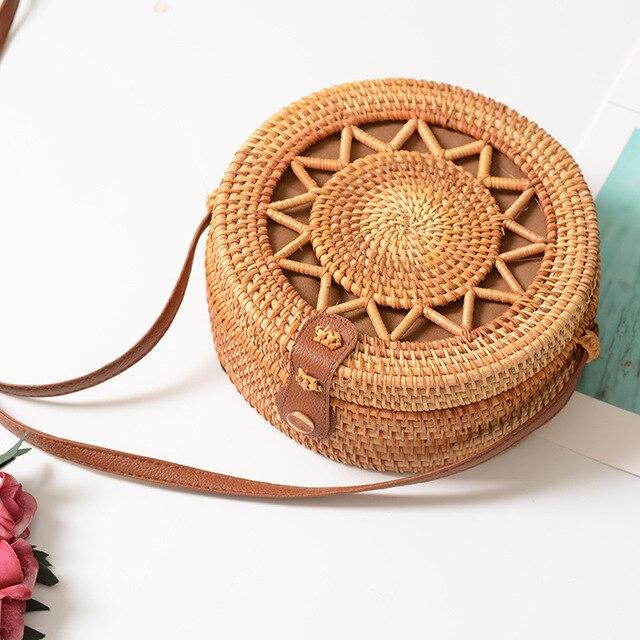 Rattan Bags for Women 2019 Hollow Out Shoulder Bag Ladies Wooden Beach Handbags Travel Cross body Strap Bag 6