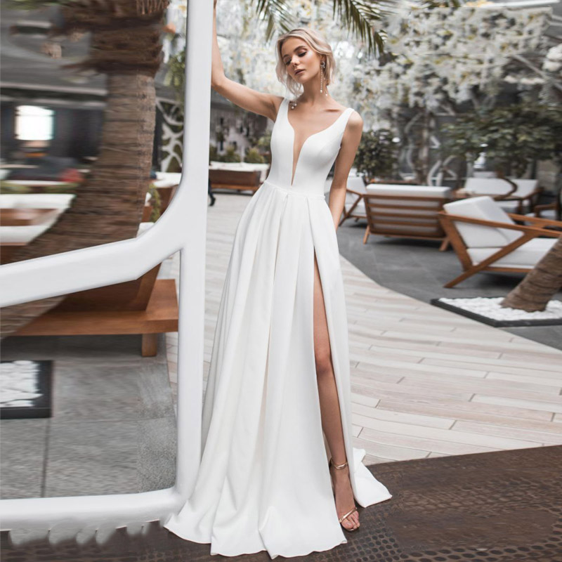 Verngo Elegant Side Slit Wedding Dress Satin Simple Bride Dress Floor Length Sexy Wedding Gowns Robe Mariage
