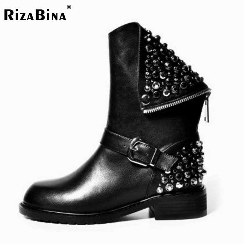 RizaBina Genuine Leather Boots Rivet Square Heels Autumn Winter Ankle Boots Sexy Martin Fur Snow Boots Shoes Woman Size34-39 real genuine leather boots rivet square heels autumn winter knee boots sexy martin fur snow boots shoes woman size 34 39