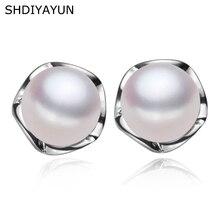 SHDIYAYUN Fine Real Pearl Earrings Pearl Jewelry Natural Freshwater Pearl Classical 925 Sterling Silver Stud Earrings For Women