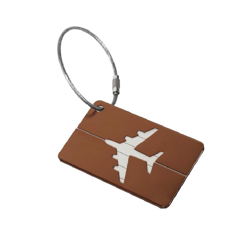 OKOKC багажные бирки из алюминиевого сплава, багажные бирки, ярлыки для багажа, аксессуары для путешествий - Цвет: Brown