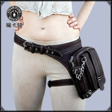 Casual Waist Bag Women PU Lær Punk Waist Bag Solid Bolsa Feminina Zipper Waist Packs Kvinner Messenger Vesker