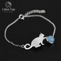 Lotus Fun Real 925 Sterling Silver Natural Aquamarine Original Handmade Fine Jewelry Playing Cat Fashion Bracelet for Women
