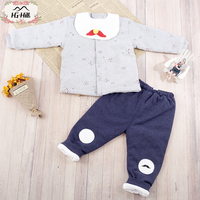 HG hill YG82029 3pcs autumn winter infant Active clothing sets printed children suit high toddler thicken outfits Clothing Suits
