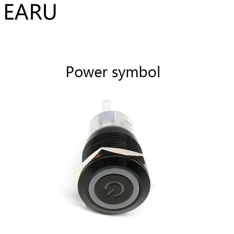 19 Mm Alumina Hitam Lampu LED Tahan Air Logam Push Button Switch Menempel Sesaat Fiksasi Auto Mesin Mobil Mulai PC Power merah