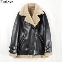 Furlove, зимняя женская куртка, двустороннее меховое пальто, парка из овчины, натуральная кожа, теплая Толстая Натуральная шерсть, меховая подкладка, куртки
