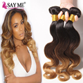 Grade 8a Ombre Malaysian Virgin Hair Body Wave 3pcs Malaysian Body Wave 3 Toned Ombre 1b 4 27 30 Blonde Human Hair Weave Bundles