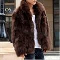 Invierno Faux Fur coat 2017 Nuevo Fresca de Los Hombres de Moda Abrigo caliente Brown y negro de gama alta de piel de Zorro abrigo de imitación de Piel de los hombres más el tamaño S/XXXL