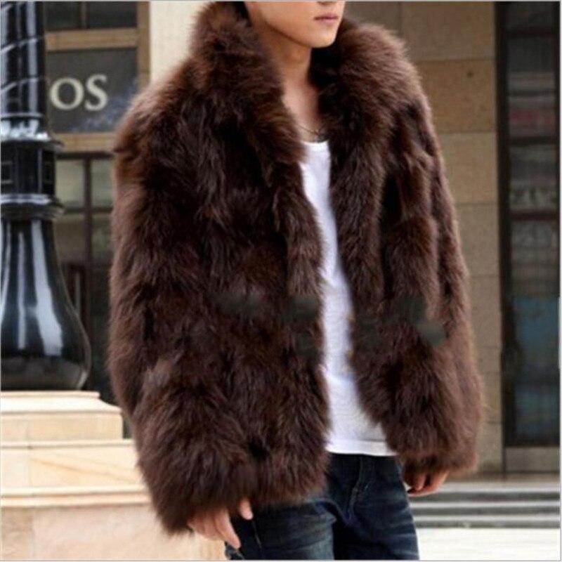 Winter Faux Fur coat 2017 New Cool Men warm Coat Fashion Brown&black high-end Fox fur coat imitation Fur men plus size S/XXXL