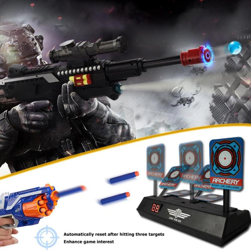 Kids Sound Light Shooting Game Shooting Target High Precision Scoring Auto Reset Electric Gun Target Accessories For Nerf Toys