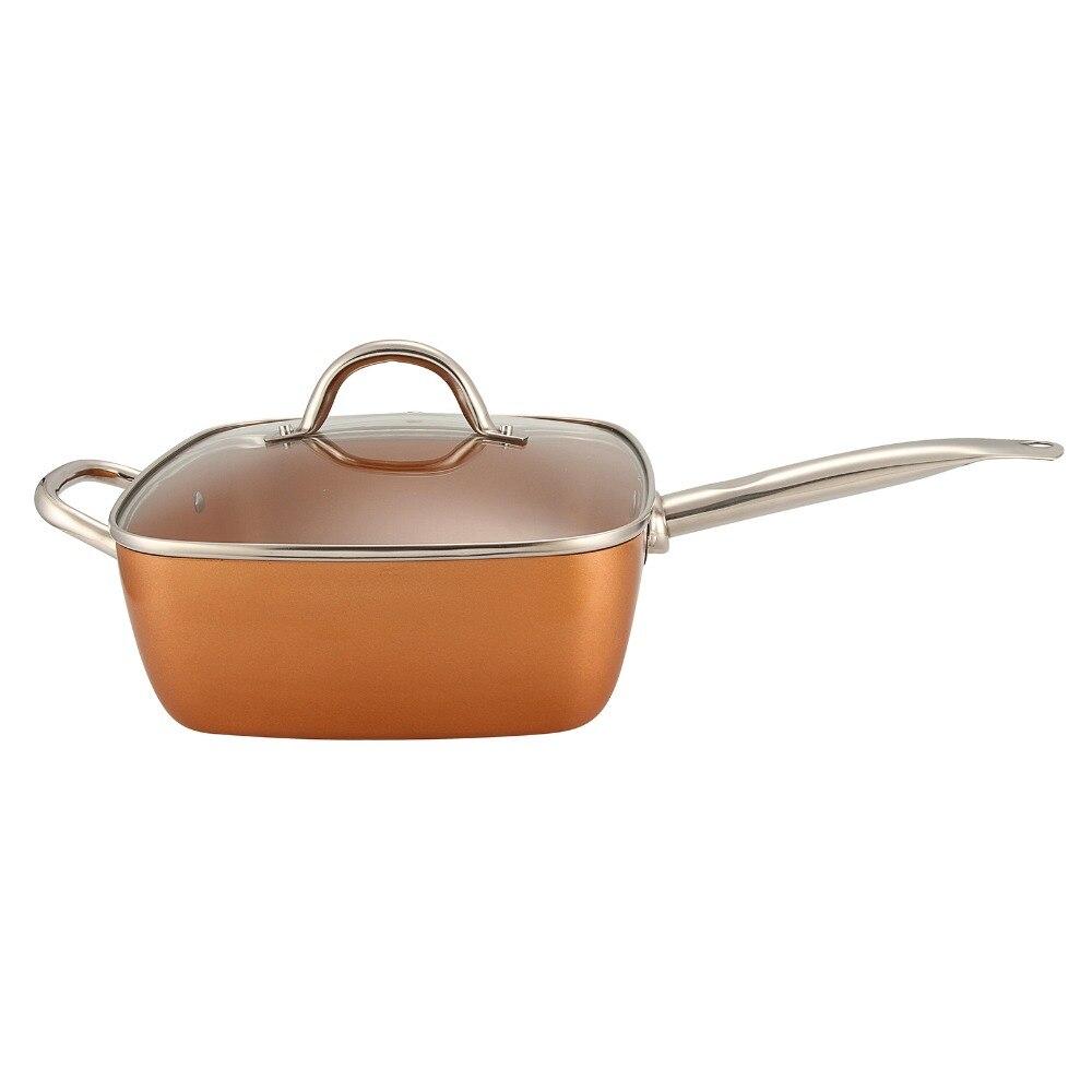 4in1 cuivre carré poêle panier à frire plateau à vapeur antiadhésif verre couvercle frire filtre panier vapeur Rack batterie de cuisine Set fournitures de cuisine - 3