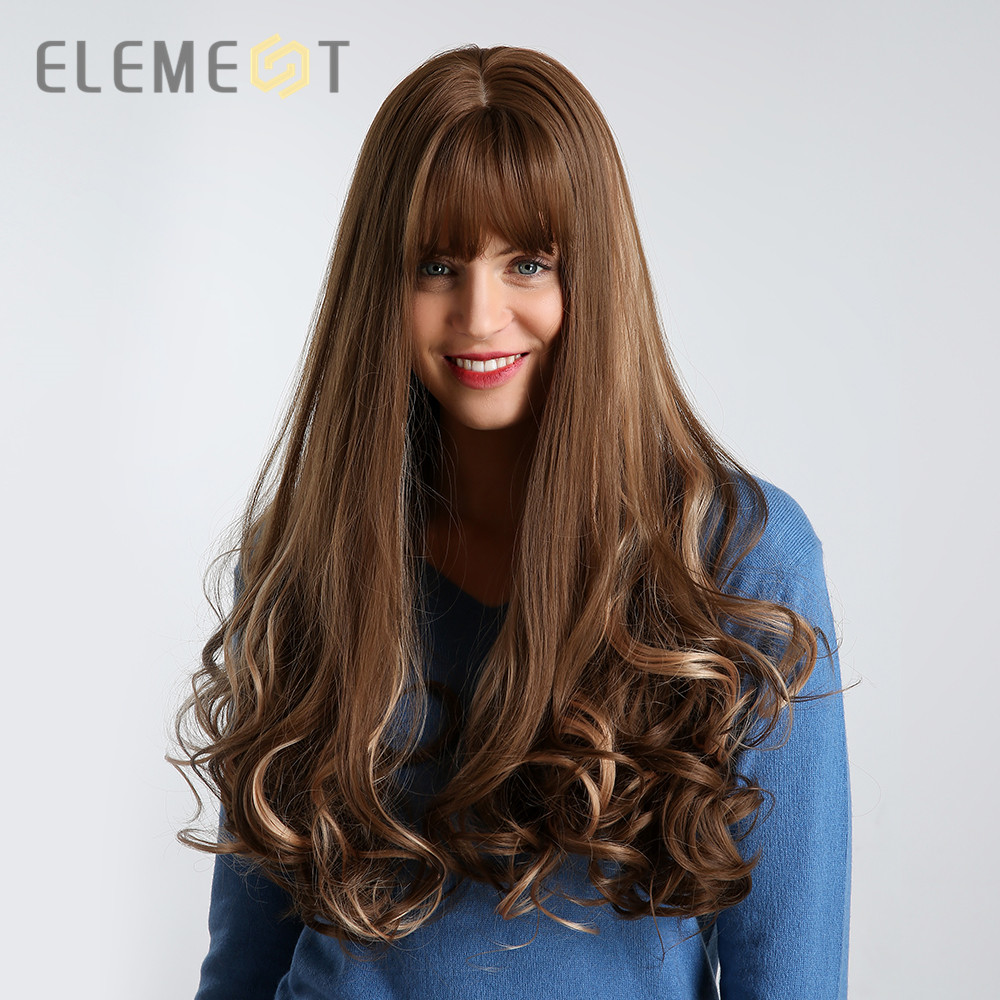 Element 26 Inch Long Synthetic Wig With Bangs Mixed Brown Color Heat Resistant Fiber Natural Wave Average Cap Wigs For Women