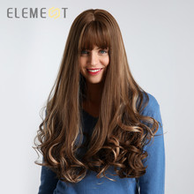 Element Long Synthetic Wig with Bangs Mixed Brown Color Heat Resistant Fiber Natural Wave Average Cap Wigs for Women