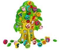 Novo DIY Colorido de Madeira Toy Animal Fruit Tree House Contas Amarrando Crianças Favor Do Presente de Aniversário Do Bebê Brinquedos Educativos
