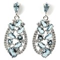 Fashion London Blue Topaz, White CZ Created SheCrown Woman's Wedding   Silver Earrings 30x13mm