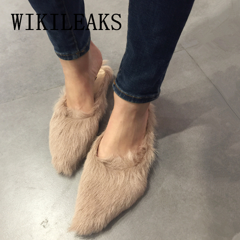fashion ladies fur mules shoes woman zapatos mujer sapato feminino slip on loafers women flats designer luxury brand casual shoe genuine leather women flats shoes new 2015 slip on woman fashion leather loafers brand designer bow sapato feminino flat shoes