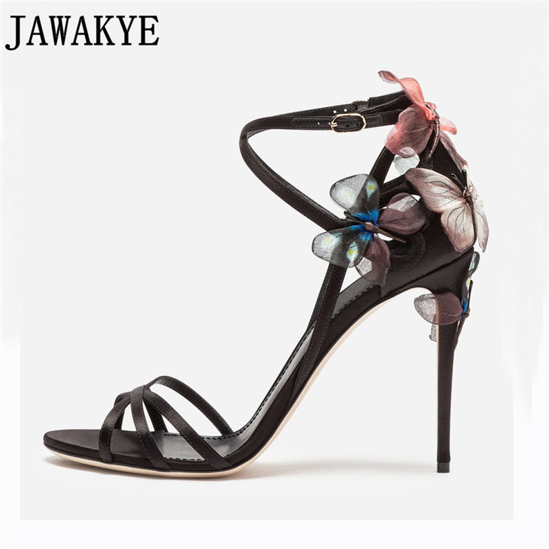 Summer yellow black sandals women butterfly flowers embellished high heels strappy 2018 sexy wedding shoes zapatos
