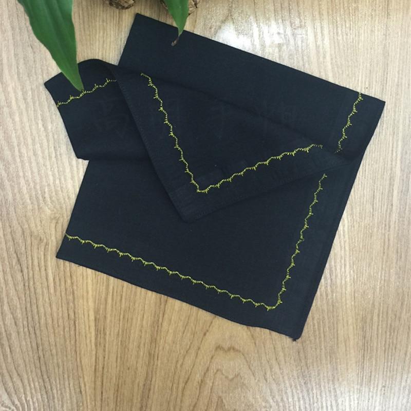 1pc 43x43cm Square Cotton Men Pocket Handkerchief Sweat Towel Black Embroidery Rim