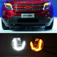 3 em 1 funções led drl luz de circulação diurna carro projetor nevoeiro lâmpada com sinal amarelo para ford explorer 2011 2012 2013 2014