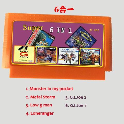 6 In 1  8 Bit 60 Pins Game Card