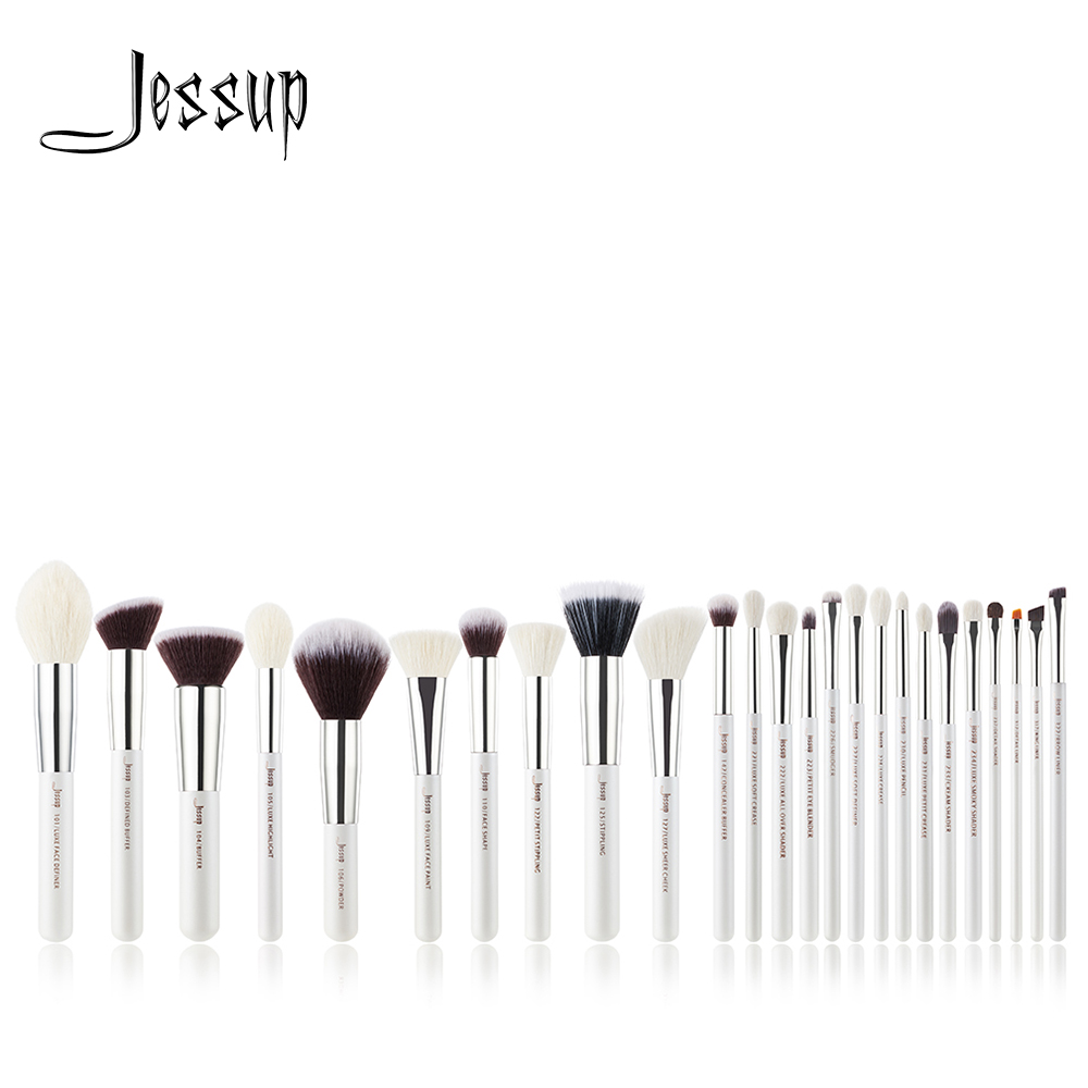 Джессап набор кистей жемчужно-белый/серебристый Профессиональные кисти для макияжа Наборы основу составляют инструмент для чистки кисти п...
