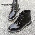 WEIMIAN Mujeres Botines Negro Tacones Gruesos Bombas Zapatos de Vestir Cadenas mujer Altas Botas Del Muslo Botas de la Marca de Charol Negro rojo