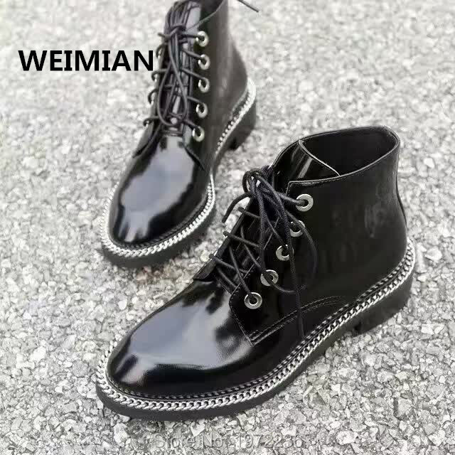 WEIMIAN Women Ankle Boots Black Thick Heels Pumps Dress Shoes Woman Chains Patent Leather Thigh High