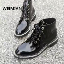 WEIMIAN Women Ankle Boots Black Thick Heels Pumps Dress Shoes Woman Chains Patent Leather Thigh High Boots Brand Botas Black Red