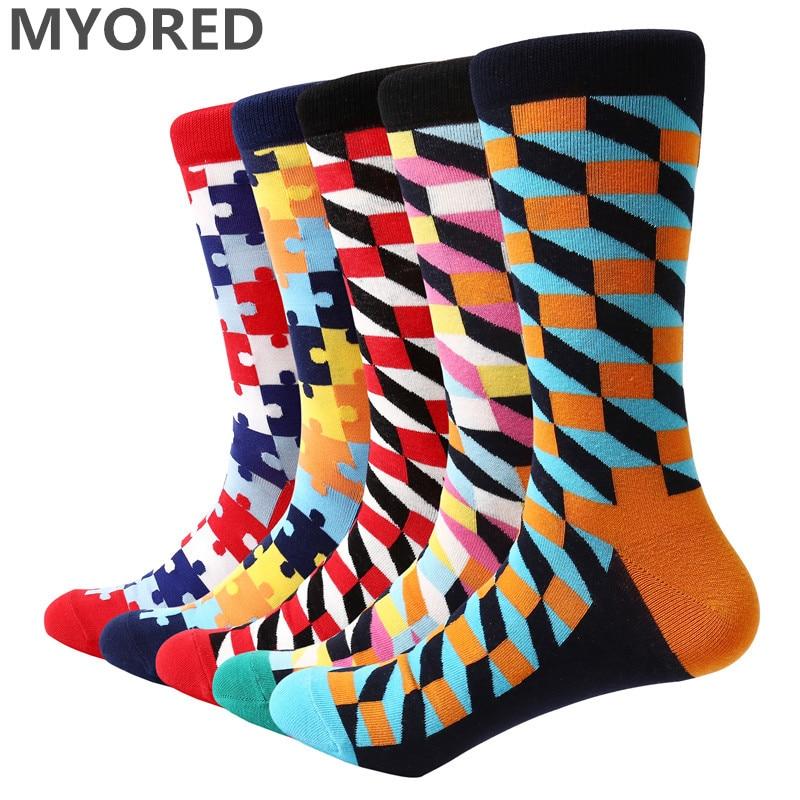 MYORED 2018 NEW 5 pair lot men socks funny style colorful lot socks for man business casual dress mens wedding gift socks in Men 39 s Socks from Underwear amp Sleepwears