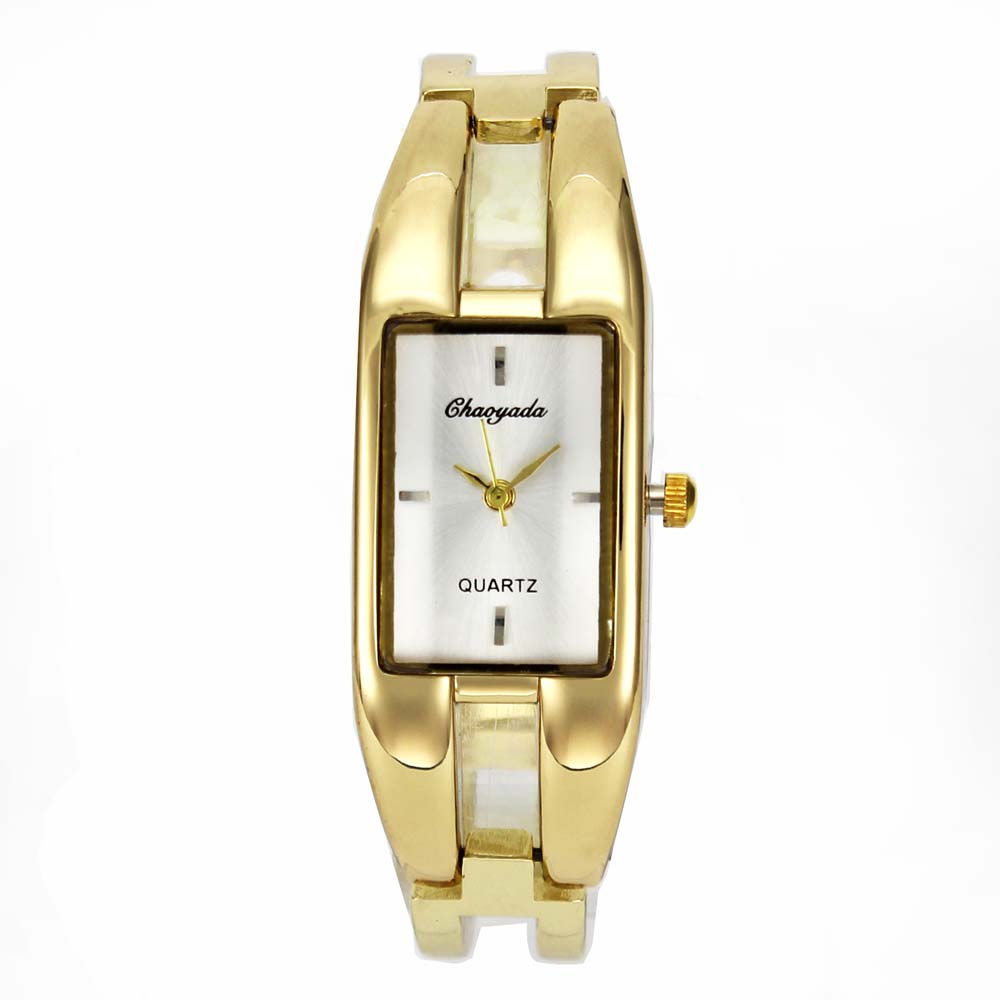 Gold Luxury Fashion Women Rectangle Style Bangle Bracelet Jewelry Analog Quartz Wrist Watch luxury women rhinestone bangle crystal flower bracelet quartz wrist watch men fashion sale hot style selling