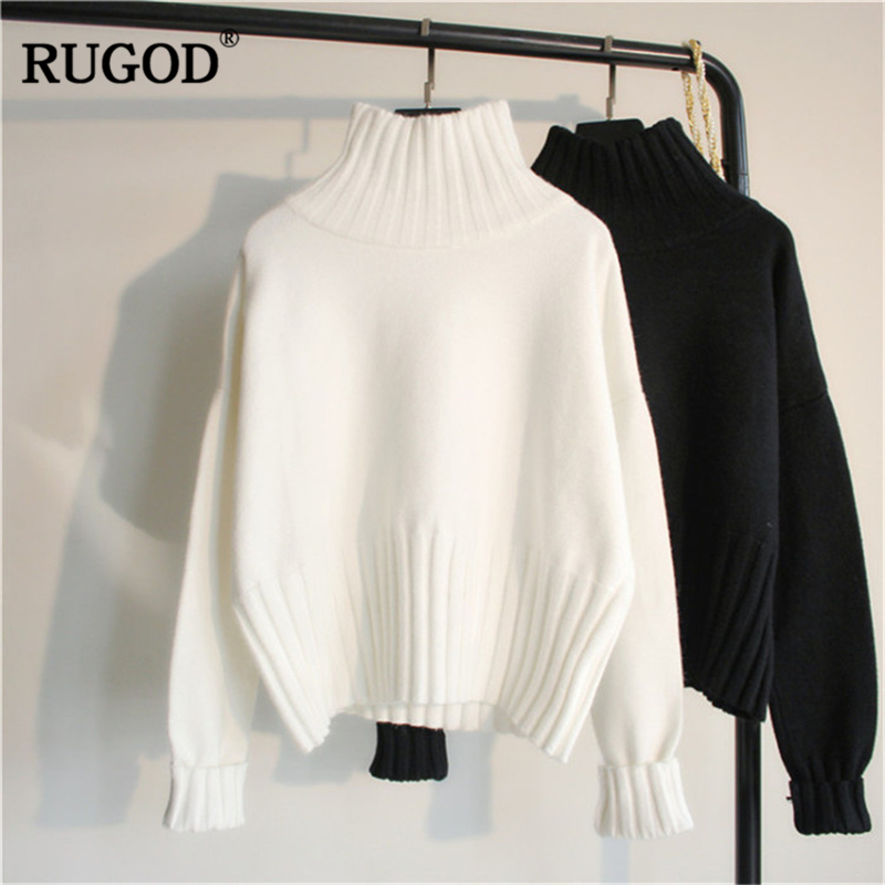 RUGOD New Solid Women Sweater Turtleneck Knitted Women Pullovers Casual Thick Warm Winter Sweater Women Tops Sueter Mujer