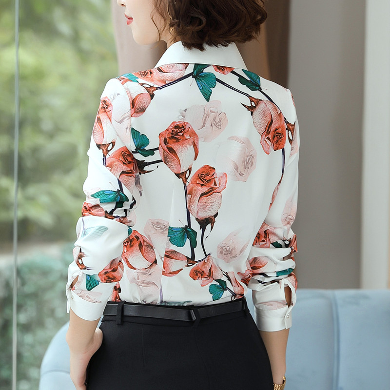 Image 3 - Fashion Rose printed shirt women spring New temperament long sleeve chiffon blouse office ladies personality plus size topsBlouses & Shirts   -